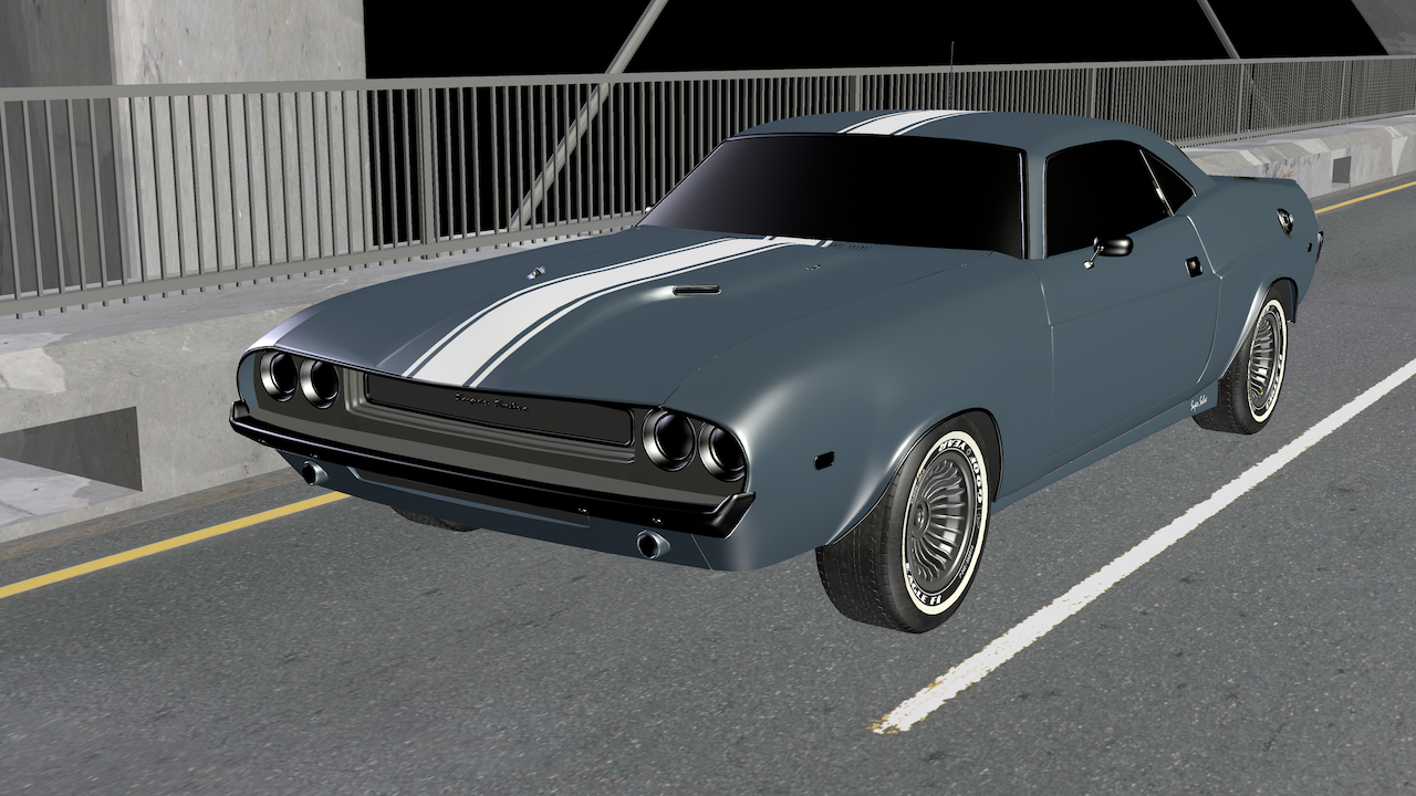 Muscle Car on Bridge Rasterized (Downsampled to 25%)